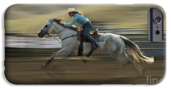Racing iPhone Cases - Cowboy Art 11 iPhone Case by Bob Christopher