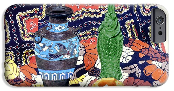 Still Life With Fish iPhone Cases - Cowboy Cloth iPhone Case by David Zimmerman
