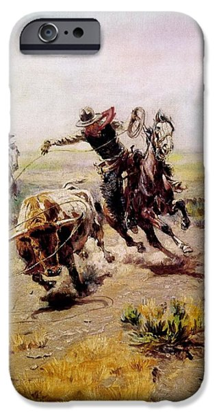 Roping Horse iPhone Cases - Cowboy Roping A Steer iPhone Case by Charles Russell