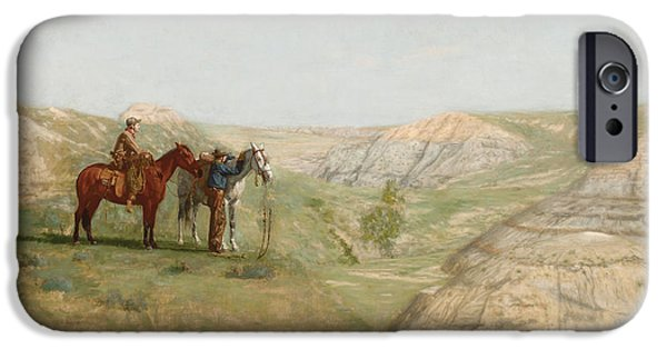 The Cowboy iPhone Cases - Cowboys in the Badlands iPhone Case by Thomas Cowperthwait Eakins