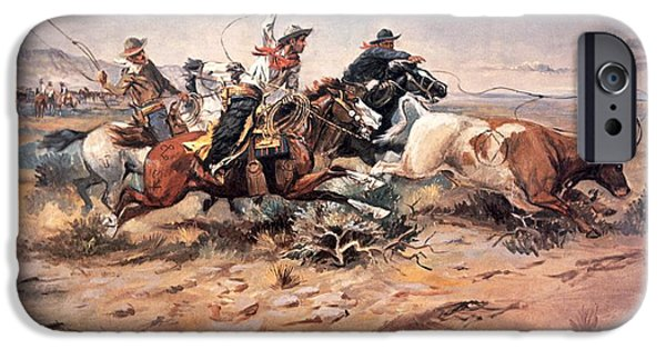 Horn iPhone Cases - Cowboys roping a steer iPhone Case by Charles Marion Russell