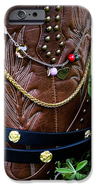 Jewelry Greeting Cards iPhone Cases - Cowgirl Boot with Gold iPhone Case by Renee Patterson