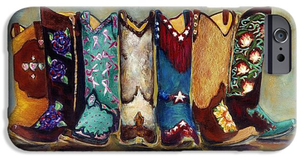 Cowgirl iPhone Cases - Cowgirls Kickin the Blues iPhone Case by Frances Marino