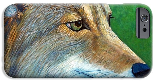 Dog Close-up Paintings iPhone Cases - Coyote Logic iPhone Case by Brian  Commerford