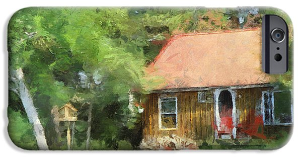 Log Cabin Digital iPhone Cases - Cozy Cottage  iPhone Case by Claire Bull