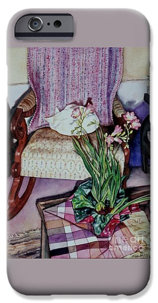"""indoor"" Still Life Paintings iPhone Cases - Cozy Kitty iPhone Case by Cynthia Pride"