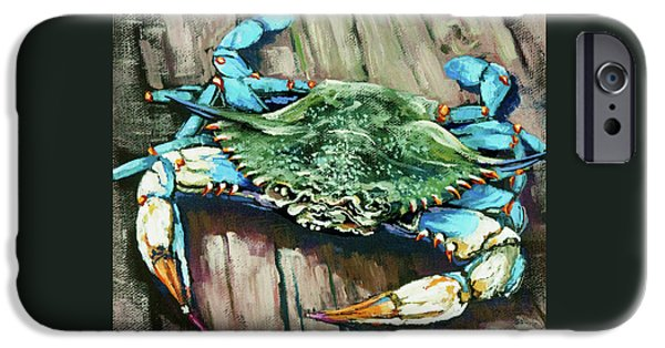 Acrylic iPhone Cases - Crabby Blue iPhone Case by Dianne Parks