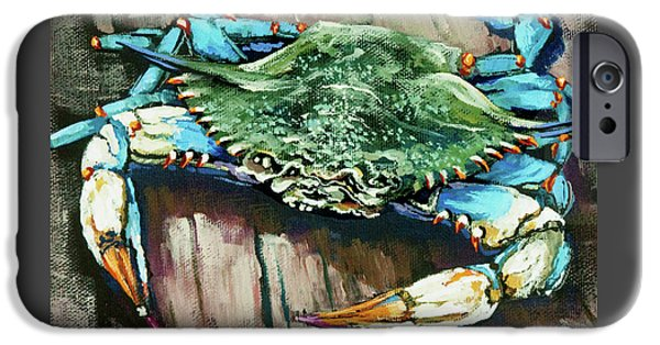 Realism iPhone Cases - Crabby Blue iPhone Case by Dianne Parks