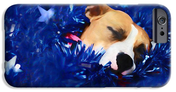 Puppies Digital Art iPhone Cases - Cradled by a Blanket of Stars and Stripes iPhone Case by Shelley Neff
