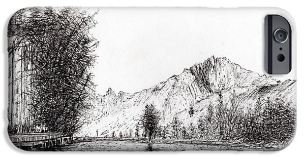 River View Drawings iPhone Cases - Crans  Switzerland iPhone Case by Vincent Alexander Booth