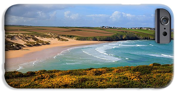 Surfer Magazine iPhone Cases - Crantock beach and yellow gorse North Cornwall England UK iPhone Case by Michael Charles