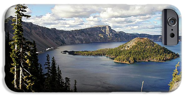 Christine Till iPhone Cases - Crater Lake - Intense blue waters and spectacular views iPhone Case by Christine Till