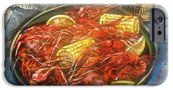 Amber iPhone Cases - Crawfish Celebration iPhone Case by Dianne Parks
