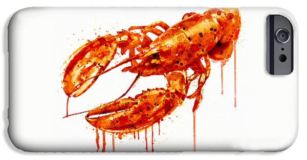 Crawfish iPhone Cases - Crawfish watercolor painting iPhone Case by Marian Voicu