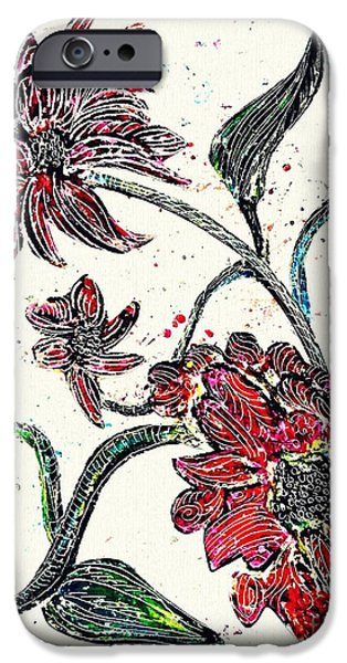 Flora Drawings iPhone Cases - Crayon Flowers iPhone Case by Sarah Loft