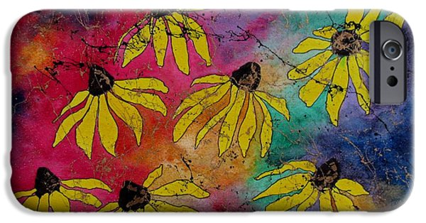 Business iPhone Cases - Crazy Daisies iPhone Case by Louise Adams