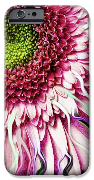 Abstract Digital Mixed Media iPhone Cases - Crazy Daisy iPhone Case by Christopher Beikmann