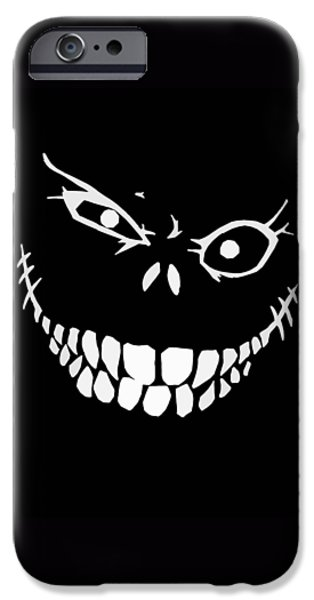 Creepy Drawings iPhone Cases - Crazy Monster Grin iPhone Case by Nicklas Gustafsson