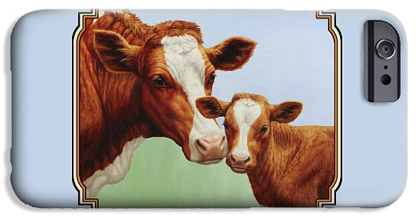 Cow iPhone Cases - Cream and Sugar iPhone Case by Crista Forest