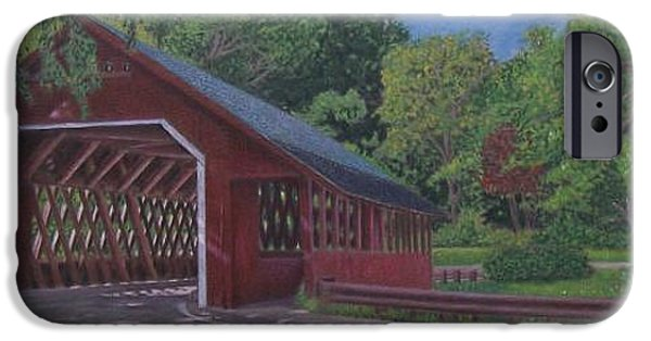 Covered Bridge Drawings iPhone Cases - Creamery Bridge iPhone Case by Robert Sewell