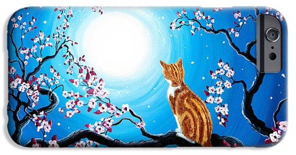 Orange Tabby iPhone Cases - Creamsicle Kitten in Blue Moonlight iPhone Case by Laura Iverson