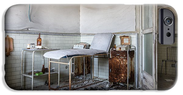 Haunted Schools iPhone Cases - Creepy exammination room - abandoned school building iPhone Case by Dirk Ercken