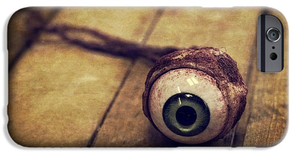 Murder iPhone Cases - Creepy Eyeball iPhone Case by Edward Fielding