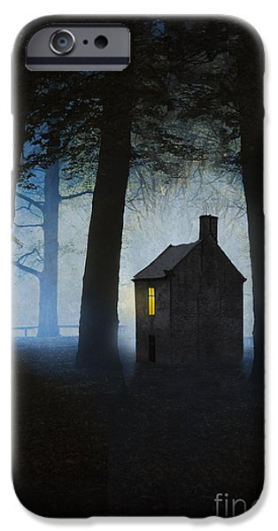 Eerie iPhone Cases - Creepy House In Foggy Woodland At Night  iPhone Case by Lee Avison