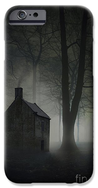 Eerie iPhone Cases - Creepy House In The Forest At Night  iPhone Case by Lee Avison