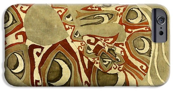 Earth Tones Tapestries - Textiles iPhone Cases - Crescent Dragon iPhone Case by Carol  Law Conklin