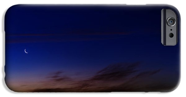 Cut-outs iPhone Cases - Crescent Moon and First Light iPhone Case by Thomas R Fletcher