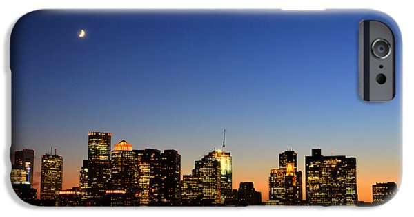 Boston Ma iPhone Cases - Crescent Moon over Boston at Dusk from East Boston iPhone Case by Toby McGuire
