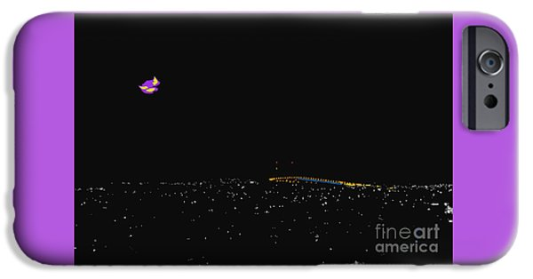 Interior Scene iPhone Cases - Crescent Moon Over San Diego iPhone Case by Alan Thwaites