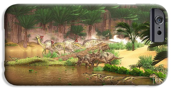 Northern Africa iPhone Cases - Cretaceous Dinosaur River iPhone Case by Corey Ford