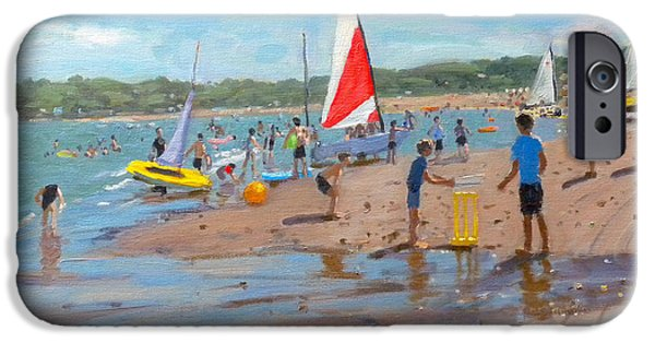 Cricket iPhone Cases - Cricket and red and white sail iPhone Case by Andrew Macara