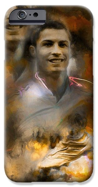 Monotone iPhone Cases - Cristiano Ronaldo  Inspiration And Legend  iPhone Case by Daniel  Arrhakis