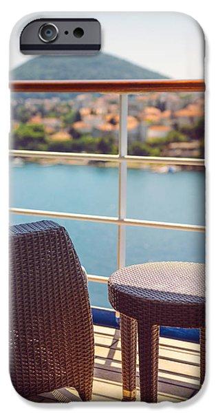 Cabin Window iPhone Cases - Croatia Dubrovnik cruise ship terrace in a cabin iPhone Case by Eduardo Huelin