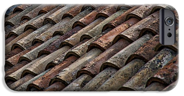 Red Abstract iPhone Cases - Croatian Roof Tiles iPhone Case by Stuart Litoff