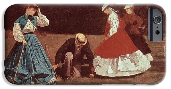 Pastimes iPhone Cases - Croquet Scene iPhone Case by Winslow Homer