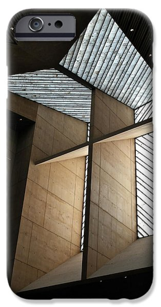 Abstractions iPhone Cases - Cross Window - Cathedral of Our Lady of the Angels iPhone Case by Michele Myers
