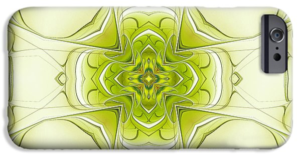 Green Surreal Geometric iPhone Cases - Cross Within A Cross iPhone Case by Deborah Benoit