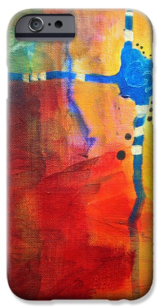 Tangerine Paintings iPhone Cases - Crossed Abstract Cruciform Painting iPhone Case by Nancy Merkle