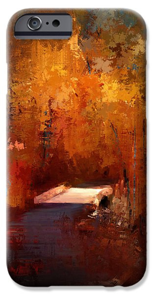 Fall Scenes Paintings iPhone Cases - Crossing Into Autumn iPhone Case by Jai Johnson