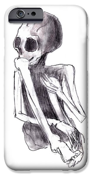 Creepy Drawings iPhone Cases - Crouched Skeleton iPhone Case by Michal Boubin