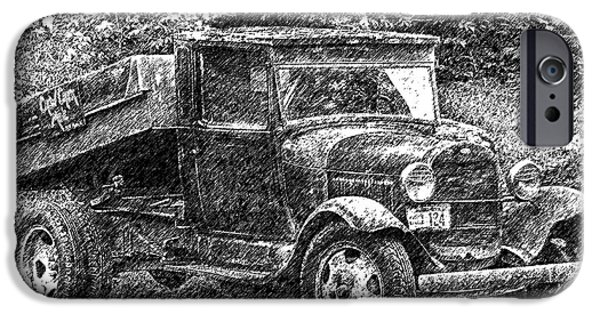 Crows Drawings iPhone Cases - Crow Creek Mine Truck Sketch iPhone Case by Diane E Berry
