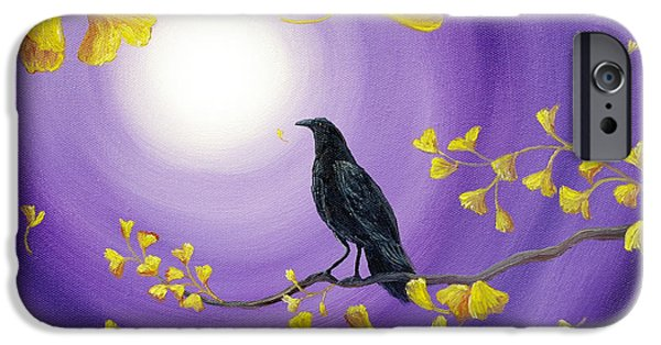 Crows iPhone Cases - Crow in Ginkgo Leaves iPhone Case by Laura Iverson