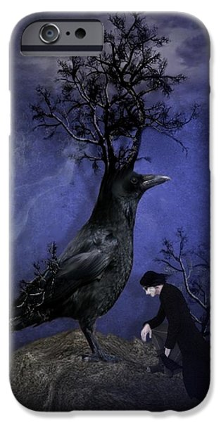 Crows iPhone Cases - Crow Of Branches iPhone Case by Ali Oppy