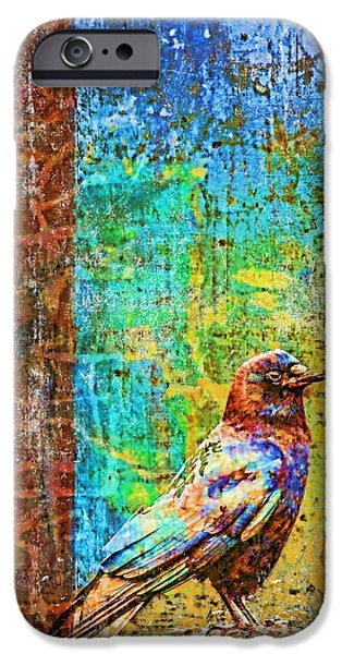Texture iPhone Cases - Crow of Many Colors iPhone Case by Carol Leigh