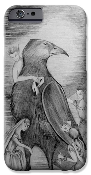 Faries iPhone Cases - Crow iPhone Case by Rachel Henderson