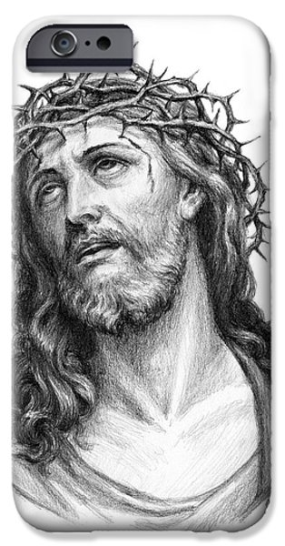 Son Of God Drawings iPhone Cases - Crown of Thorns iPhone Case by Christopher Panza